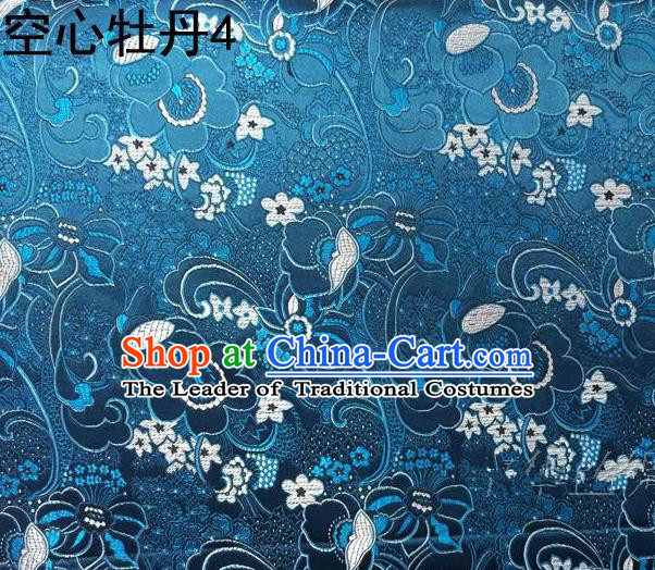Traditional Asian Chinese Handmade Embroidery Peony Flowers Satin Tang Suit Blue Silk Fabric, Top Grade Nanjing Brocade Ancient Costume Hanfu Clothing Fabric Cheongsam Cloth Material