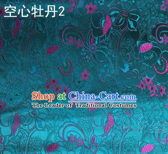 Traditional Asian Chinese Handmade Embroidery Peony Flowers Satin Tang Suit Peacock Blue Silk Fabric, Top Grade Nanjing Brocade Ancient Costume Hanfu Clothing Fabric Cheongsam Cloth Material