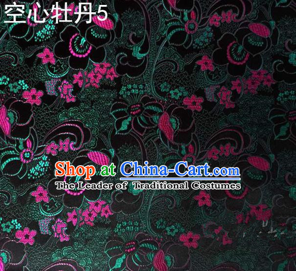 Traditional Asian Chinese Handmade Embroidery Peony Flowers Satin Tang Suit Deep Green Silk Fabric, Top Grade Nanjing Brocade Ancient Costume Hanfu Clothing Fabric Cheongsam Cloth Material