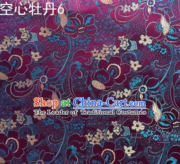 Traditional Asian Chinese Handmade Embroidery Peony Flowers Satin Tang Suit Deep Purple Silk Fabric, Top Grade Nanjing Brocade Ancient Costume Hanfu Clothing Fabric Cheongsam Cloth Material