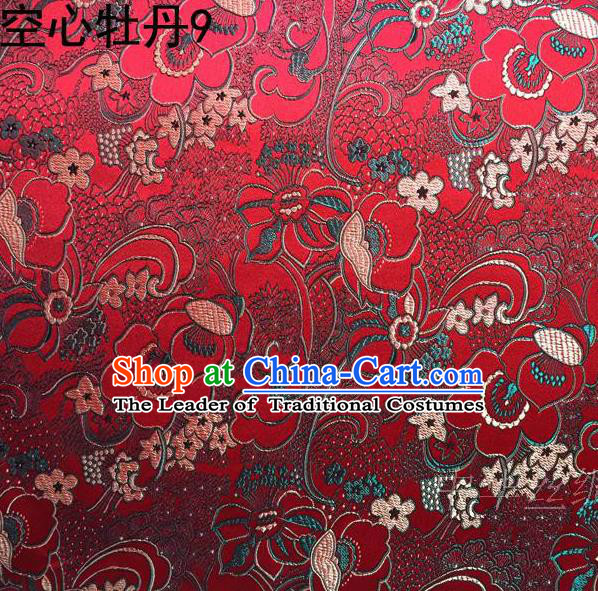 Traditional Asian Chinese Handmade Embroidery Peony Flowers Satin Tang Suit Red Silk Fabric, Top Grade Nanjing Brocade Ancient Costume Hanfu Clothing Fabric Cheongsam Cloth Material