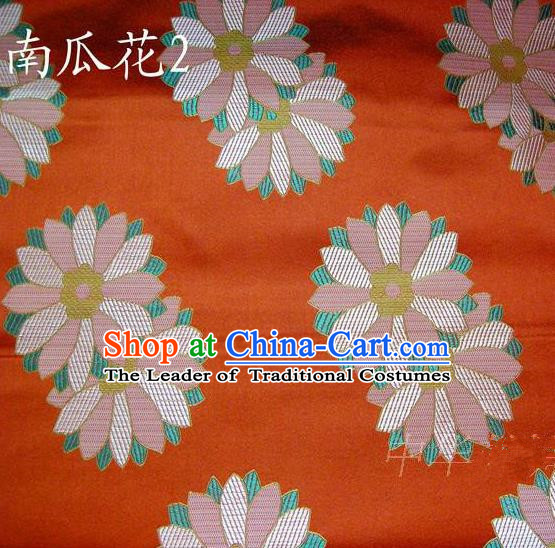 Traditional Asian Chinese Handmade Printing Cushaw Flower Satin Tang Suit Orange Silk Fabric, Top Grade Nanjing Brocade Ancient Costume Hanfu Clothing Fabric Cheongsam Cloth Material