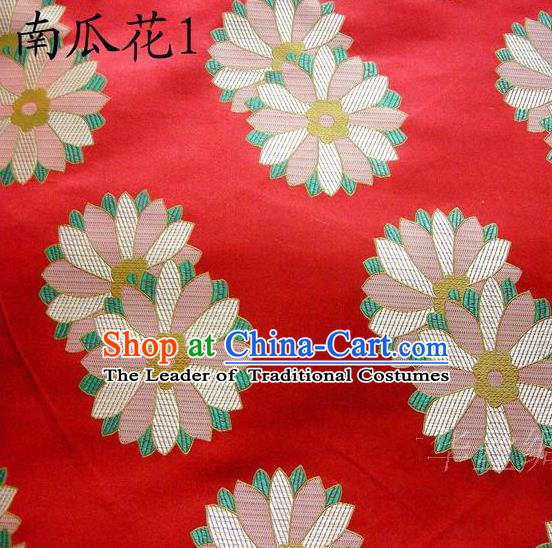 Traditional Asian Chinese Handmade Printing Cushaw Flower Satin Tang Suit Red Silk Fabric, Top Grade Nanjing Brocade Ancient Costume Hanfu Clothing Fabric Cheongsam Cloth Material