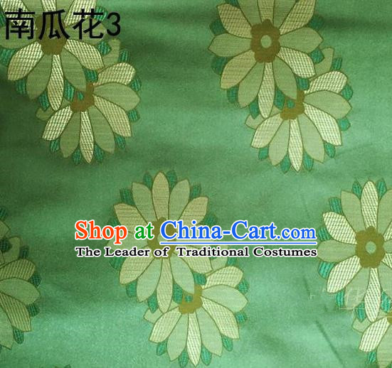 Traditional Asian Chinese Handmade Printing Cushaw Flower Satin Tang Suit Green Silk Fabric, Top Grade Nanjing Brocade Ancient Costume Hanfu Clothing Fabric Cheongsam Cloth Material
