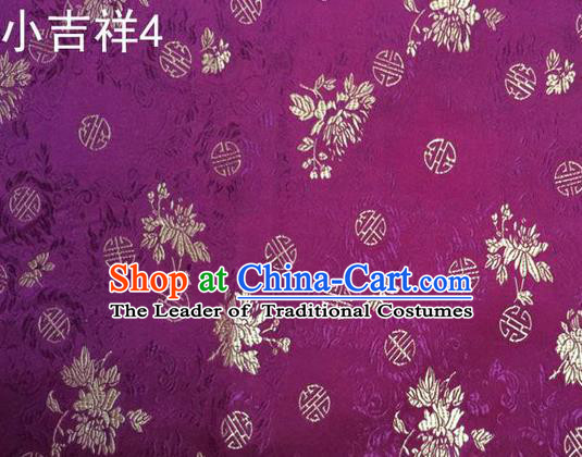 Traditional Asian Chinese Handmade Printing Auspicious Pattern Satin Tang Suit Purple Silk Fabric, Top Grade Nanjing Brocade Ancient Costume Hanfu Clothing Fabric Cheongsam Cloth Material