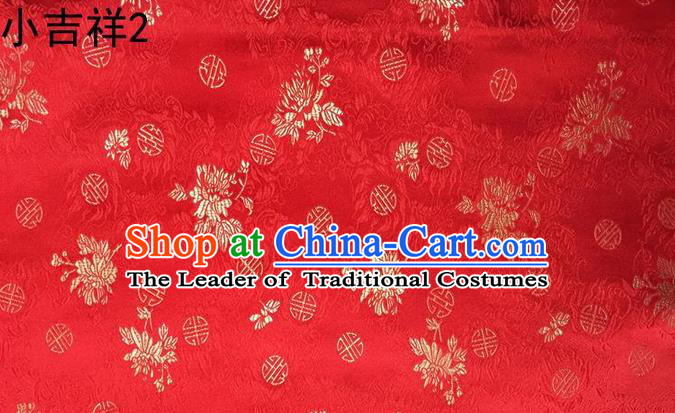 Traditional Asian Chinese Handmade Printing Auspicious Pattern Satin Tang Suit Red Silk Fabric, Top Grade Nanjing Brocade Ancient Costume Hanfu Clothing Fabric Cheongsam Cloth Material