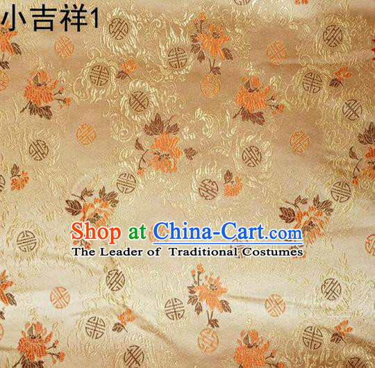 Traditional Asian Chinese Handmade Printing Auspicious Pattern Satin Tang Suit Golden Silk Fabric, Top Grade Nanjing Brocade Ancient Costume Hanfu Clothing Fabric Cheongsam Cloth Material