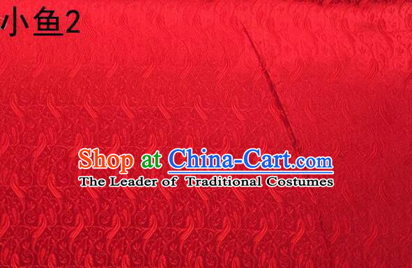 Traditional Asian Chinese Handmade Jacquard Weave Fish Pattern Satin Tang Suit Red Silk Fabric, Top Grade Nanjing Brocade Ancient Costume Hanfu Clothing Fabric Cheongsam Cloth Material