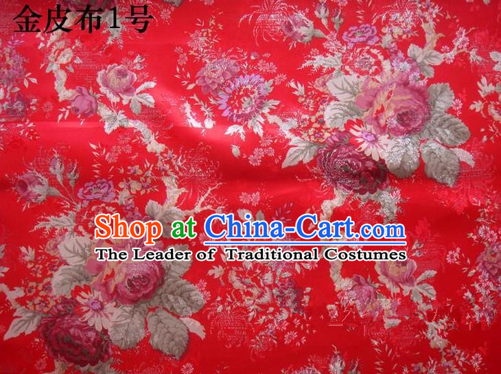 Traditional Asian Chinese Handmade Printing Peony Satin Tang Suit Red Fabric, Nanjing Brocade Ancient Costume Hanfu Cheongsam Cloth Material