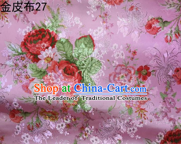 Traditional Asian Chinese Handmade Printing Peony Satin Tang Suit Pink Fabric, Nanjing Brocade Ancient Costume Hanfu Cheongsam Cloth Material