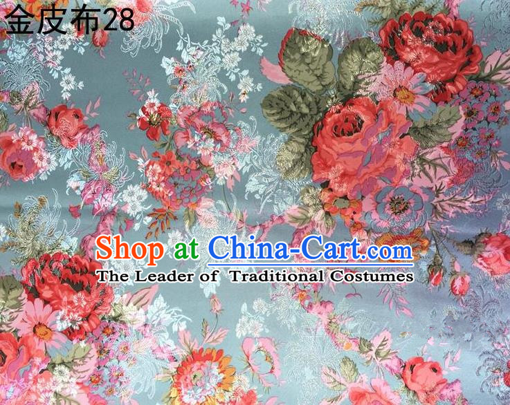Traditional Asian Chinese Handmade Printing Peony Satin Tang Suit Blue Fabric, Nanjing Brocade Ancient Costume Hanfu Cheongsam Cloth Material
