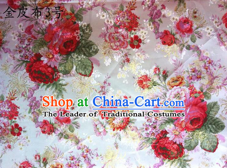 Traditional Asian Chinese Handmade Printing Red Peony Satin Tang Suit Fabric, Nanjing Brocade Ancient Costume Hanfu Cheongsam Cloth Material