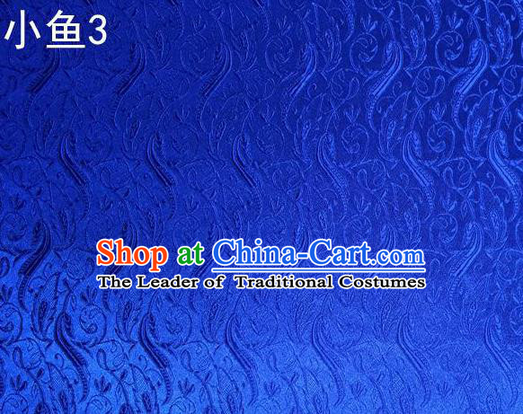 Traditional Asian Chinese Handmade Jacquard Weave Fish Pattern Satin Tang Suit Royalblue Silk Fabric, Top Grade Nanjing Brocade Ancient Costume Hanfu Clothing Fabric Cheongsam Cloth Material