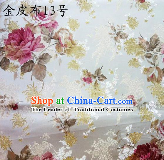 Traditional Asian Chinese Handmade Printing Pink Peony Satin Tang Suit Fabric, Nanjing Brocade Ancient Costume Hanfu Cheongsam Cloth Material