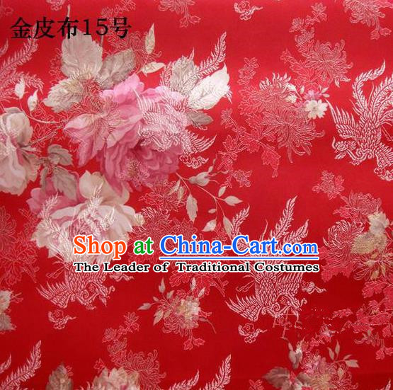 Traditional Asian Chinese Handmade Embroidery Phoenix Pink Peony Satin Tang Suit Red Fabric, Nanjing Brocade Ancient Costume Hanfu Cheongsam Cloth Material