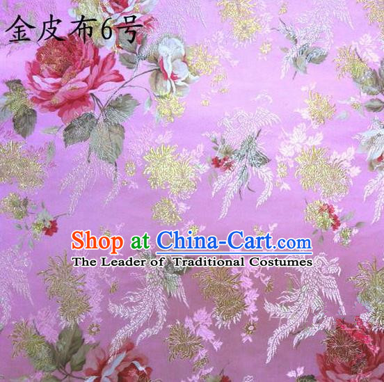 Traditional Asian Chinese Handmade Embroidery Phoenix Pink Peony Satin Tang Suit Pink Fabric, Nanjing Brocade Ancient Costume Hanfu Cheongsam Cloth Material