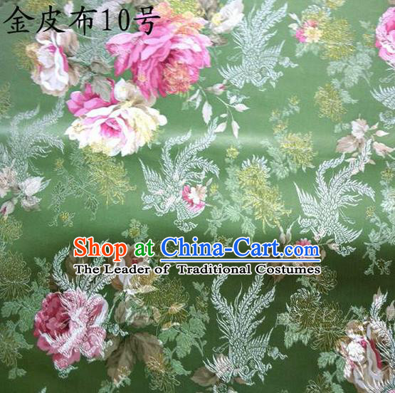 Traditional Asian Chinese Handmade Embroidery Phoenix Pink Peony Satin Tang Suit Green Fabric, Nanjing Brocade Ancient Costume Hanfu Cheongsam Cloth Material