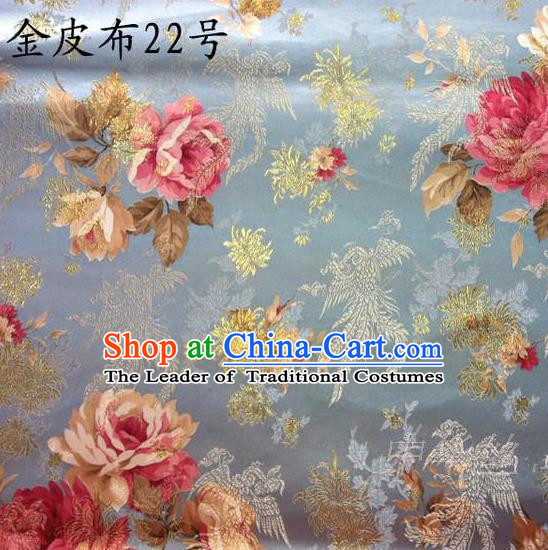 Traditional Asian Chinese Handmade Embroidery Phoenix Pink Peony Satin Tang Suit Blue Fabric, Nanjing Brocade Ancient Costume Hanfu Cheongsam Cloth Material