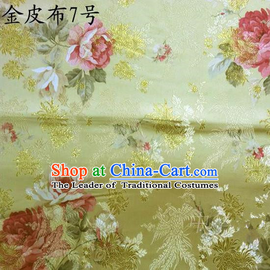 Traditional Asian Chinese Handmade Embroidery Phoenix Pink Peony Satin Tang Suit Golden Fabric, Nanjing Brocade Ancient Costume Hanfu Cheongsam Cloth Material