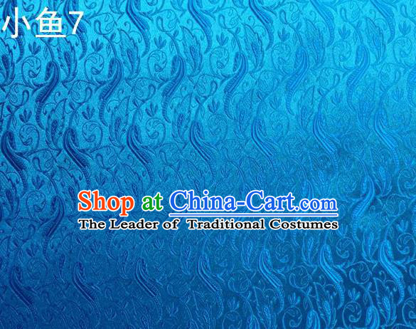 Traditional Asian Chinese Handmade Jacquard Weave Fish Pattern Satin Tang Suit Blue Silk Fabric, Top Grade Nanjing Brocade Ancient Costume Hanfu Clothing Fabric Cheongsam Cloth Material