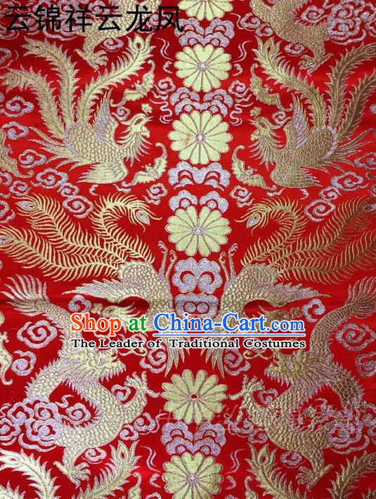 Traditional Asian Chinese Handmade Embroidery Golden Lotus Satin Tang Suit Red Fabric, Nanjing Brocade Ancient Costume Hanfu Xiuhe Suit Cheongsam Cloth Material