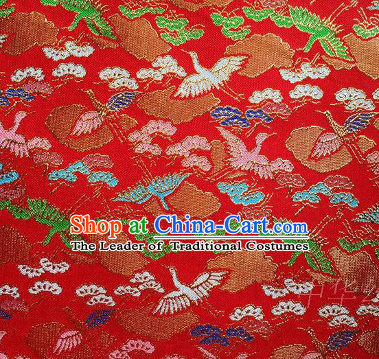 Traditional Asian Chinese Handmade Embroidery Cranes Satin Tang Suit Red Fabric, Nanjing Brocade Ancient Costume Hanfu Kimono Cheongsam Cloth Material