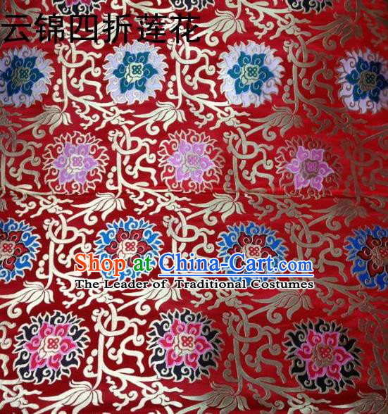 Traditional Asian Chinese Handmade Embroidery Lotus Satin Tang Suit Red Fabric, Nanjing Brocade Ancient Costume Hanfu Xiuhe Suit Cheongsam Cloth Material