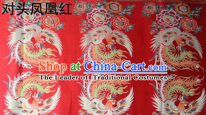 Traditional Asian Chinese Handmade Embroidery Phoenix Satin Tang Suit Red Fabric, Nanjing Brocade Ancient Costume Hanfu Xiuhe Suit Cheongsam Cloth Material