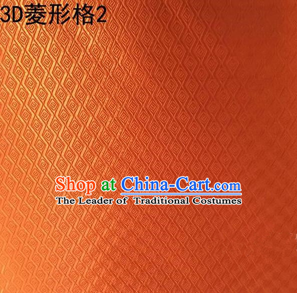 Traditional Asian Chinese Handmade Embroidery Diamond Check Satin Tang Suit Orange Fabric, Nanjing Brocade Ancient Costume Hanfu Cheongsam Cloth Material