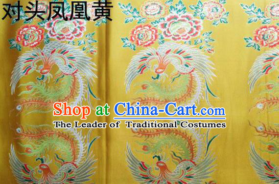 Traditional Asian Chinese Handmade Embroidery Phoenix Satin Tang Suit Yellow Fabric, Nanjing Brocade Ancient Costume Hanfu Xiuhe Suit Cheongsam Cloth Material