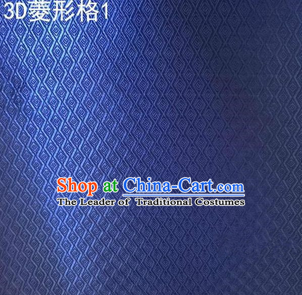 Traditional Asian Chinese Handmade Embroidery Diamond Check Satin Tang Suit Blue Fabric, Nanjing Brocade Ancient Costume Hanfu Cheongsam Cloth Material