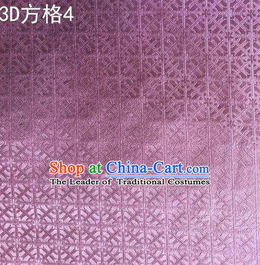 Traditional Asian Chinese Handmade Embroidery Square Lattice Silk Satin Tang Suit Purple Fabric, Nanjing Brocade Ancient Costume Hanfu Cheongsam Cloth Material