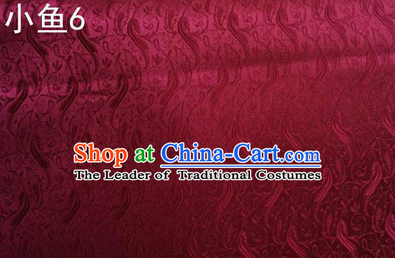 Traditional Asian Chinese Handmade Jacquard Weave Fish Pattern Satin Tang Suit Wine Red Silk Fabric, Top Grade Nanjing Brocade Ancient Costume Hanfu Clothing Fabric Cheongsam Cloth Material