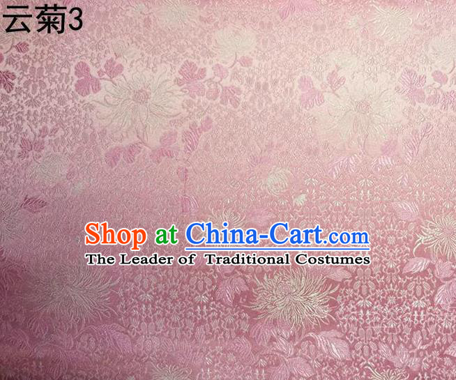 Traditional Asian Chinese Handmade Jacquard Weave Embroidery Chrysanthemum Satin Tang Suit Pink Silk Fabric, Top Grade Nanjing Brocade Ancient Costume Hanfu Clothing Fabric Cheongsam Cloth Material
