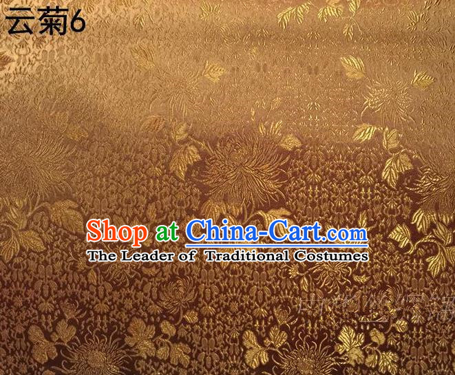 Traditional Asian Chinese Handmade Jacquard Weave Embroidery Chrysanthemum Satin Tang Suit Golden Silk Fabric, Top Grade Nanjing Brocade Ancient Costume Hanfu Clothing Fabric Cheongsam Cloth Material