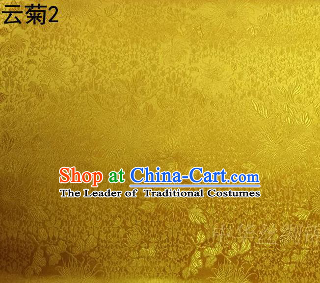 Traditional Asian Chinese Handmade Jacquard Weave Embroidery Chrysanthemum Satin Tang Suit Bright Yellow Silk Fabric, Top Grade Nanjing Brocade Ancient Costume Hanfu Clothing Fabric Cheongsam Cloth Material