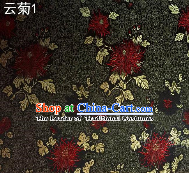 Traditional Asian Chinese Handmade Jacquard Weave Embroidery Red Chrysanthemum Satin Tang Suit Black Silk Fabric, Top Grade Nanjing Brocade Ancient Costume Hanfu Clothing Fabric Cheongsam Cloth Material