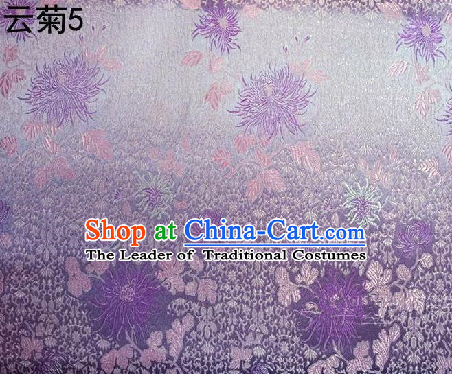 Traditional Asian Chinese Handmade Jacquard Weave Embroidery Chrysanthemum Satin Tang Suit Lilac Silk Fabric, Top Grade Nanjing Brocade Ancient Costume Hanfu Clothing Fabric Cheongsam Cloth Material