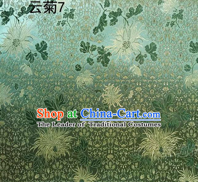 Traditional Asian Chinese Handmade Jacquard Weave Embroidery Chrysanthemum Satin Tang Suit Green Silk Fabric, Top Grade Nanjing Brocade Ancient Costume Hanfu Clothing Fabric Cheongsam Cloth Material