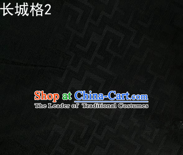 Traditional Asian Chinese Handmade Jacquard Weave Satin Tang Suit Black Silk Fabric, Top Grade Nanjing Brocade Ancient Costume Hanfu Clothing Fabric Cheongsam Cloth Material