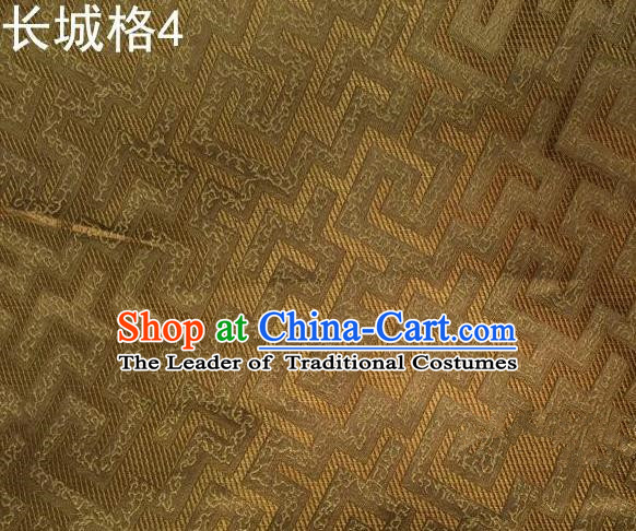 Traditional Asian Chinese Handmade Jacquard Weave Satin Tang Suit Golden Silk Fabric, Top Grade Nanjing Brocade Ancient Costume Hanfu Clothing Fabric Cheongsam Cloth Material