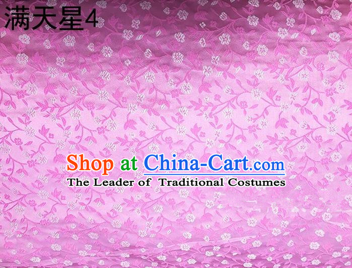 Traditional Asian Chinese Handmade Embroidery Plum Blossom Satin Tang Suit Pink Silk Fabric, Top Grade Nanjing Brocade Ancient Costume Hanfu Clothing Fabric Cheongsam Cloth Material