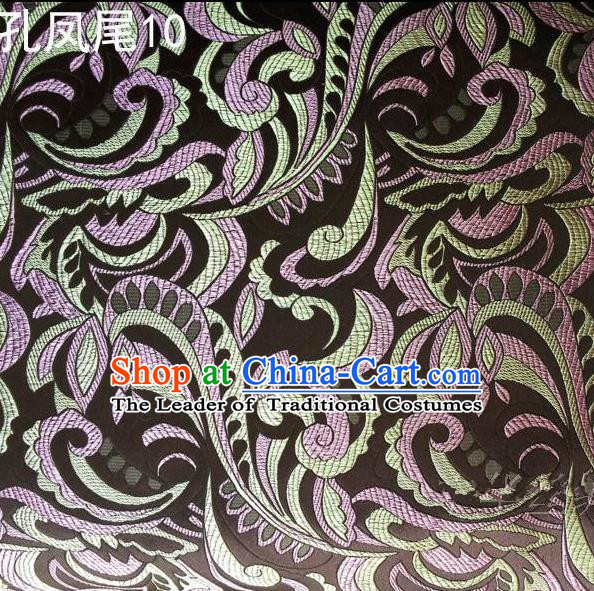 Traditional Asian Chinese Handmade Embroidery Ombre Flowers Satin Tang Suit Black Silk Fabric, Top Grade Nanjing Brocade Ancient Costume Hanfu Clothing Fabric Cheongsam Cloth Material