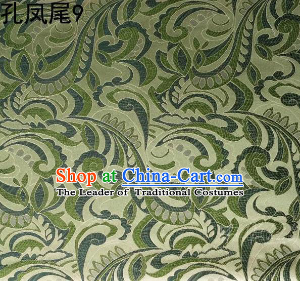 Traditional Asian Chinese Handmade Embroidery Ombre Flowers Satin Tang Suit Green Silk Fabric, Top Grade Nanjing Brocade Ancient Costume Hanfu Clothing Fabric Cheongsam Cloth Material