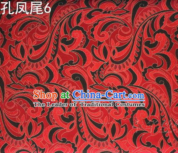 Traditional Asian Chinese Handmade Embroidery Ombre Flowers Satin Tang Suit Red Silk Fabric, Top Grade Nanjing Brocade Ancient Costume Hanfu Clothing Fabric Cheongsam Cloth Material