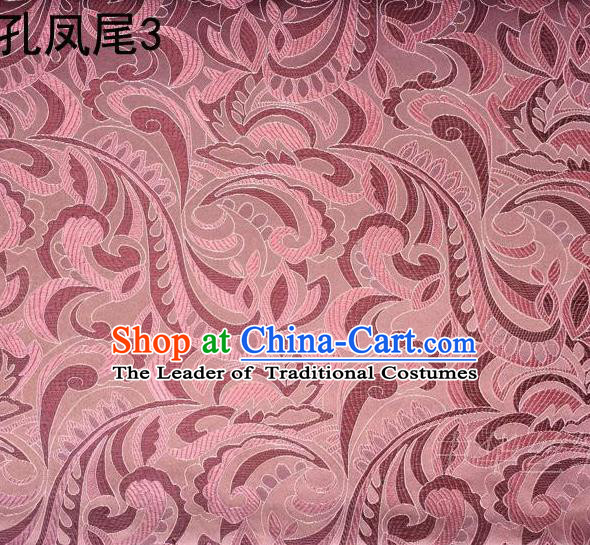 Traditional Asian Chinese Handmade Embroidery Ombre Flowers Satin Tang Suit Pink Silk Fabric, Top Grade Nanjing Brocade Ancient Costume Hanfu Clothing Fabric Cheongsam Cloth Material