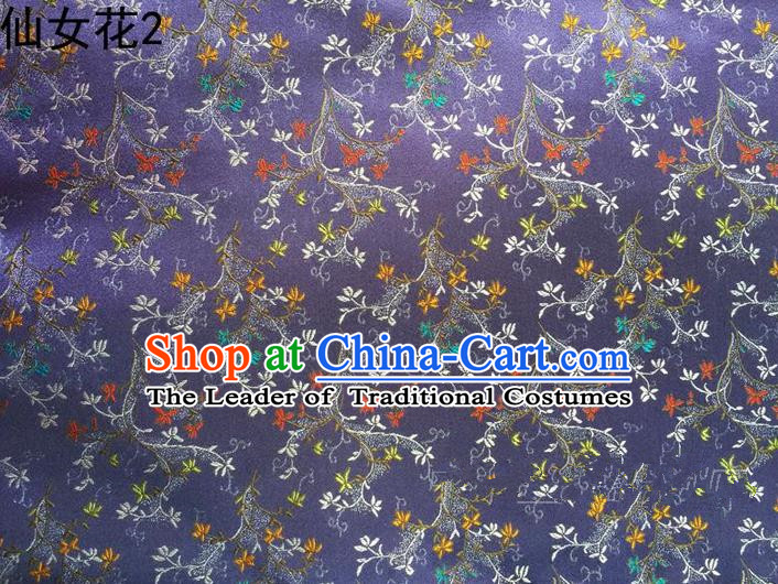 Traditional Asian Chinese Handmade Embroidery Spreading Flowers Satin Tang Suit Purple Silk Fabric, Top Grade Nanjing Brocade Ancient Costume Hanfu Clothing Cheongsam Cloth Material