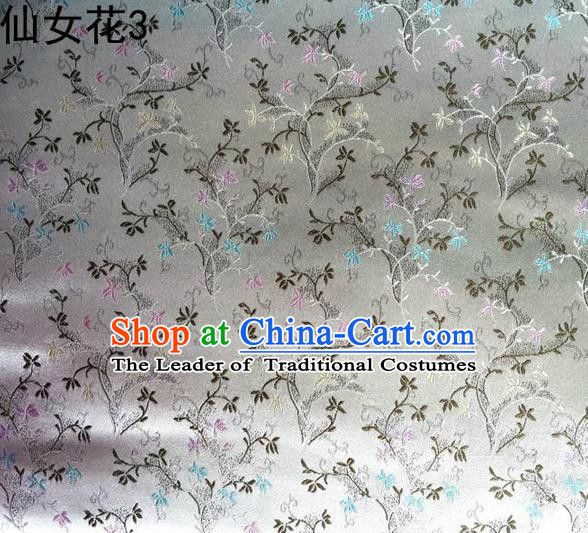 Traditional Asian Chinese Handmade Embroidery Spreading Flowers Satin Tang Suit White Silk Fabric, Top Grade Nanjing Brocade Ancient Costume Hanfu Clothing Cheongsam Cloth Material
