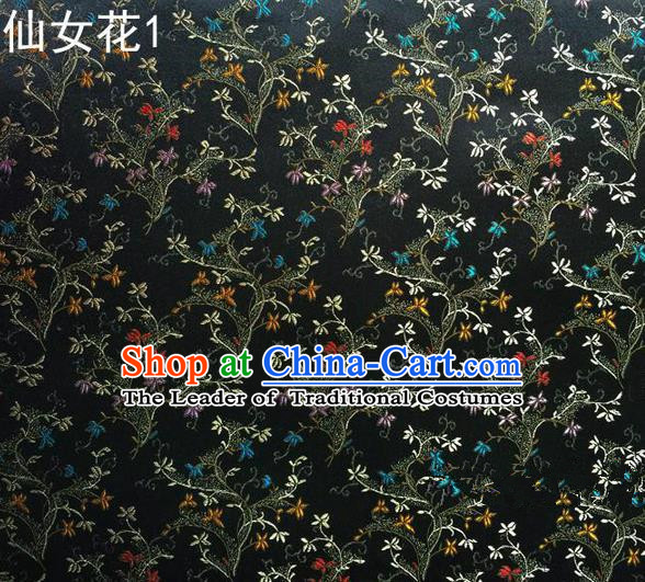 Traditional Asian Chinese Handmade Embroidery Spreading Flowers Satin Tang Suit Black Silk Fabric, Top Grade Nanjing Brocade Ancient Costume Hanfu Clothing Cheongsam Cloth Material