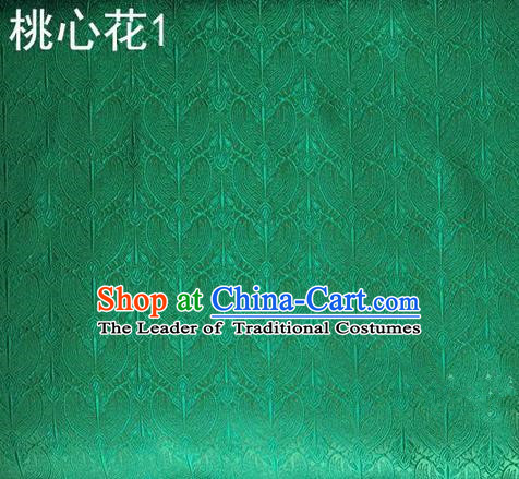 Traditional Asian Chinese Handmade Embroidery Peach Hearts Flowers Satin Tang Suit Green Silk Fabric, Top Grade Nanjing Brocade Ancient Costume Hanfu Clothing Cheongsam Cloth Material